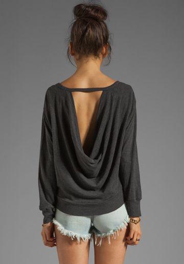 Monrow Drape Back Sweatshirt in Vintage Black - Loungewear