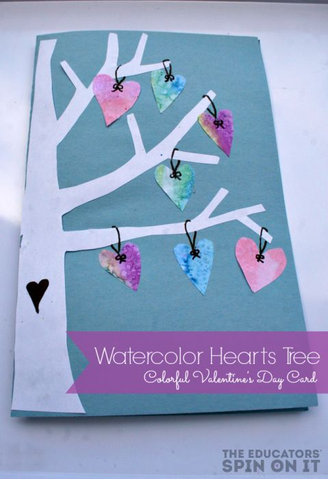 Watercolor Hearts Card Winter Projects To Make And Do Pinterest