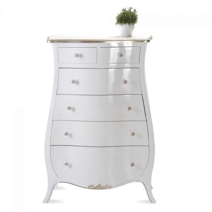 #Kommode Pomp #Mahagoni Teilmassiv Weiß / Silber Im #barockstil Kaufen Bei  Mobego