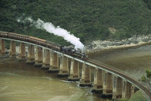 Tootsie steam train on bridge at Dolphin Point travelling between George and Knysna