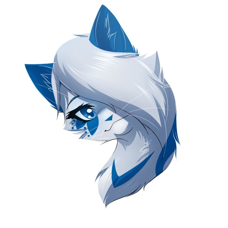 dewflower- shecat- mossclan- 36 moons mate: no kits: no descript white with blue arrow on chest petal like pattern under right eye and blue ears blue eyes. (not my art) adopt now.