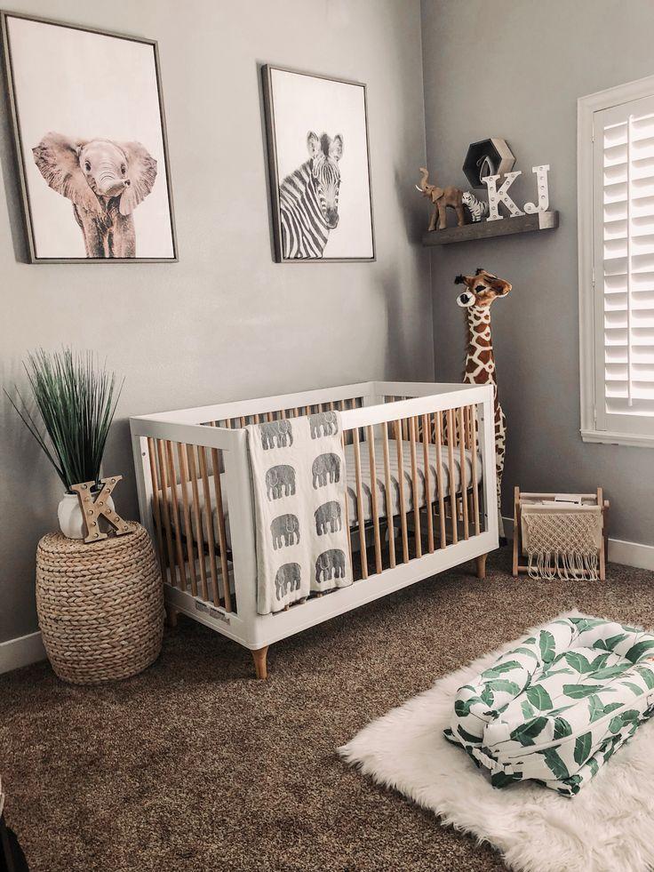 Neutral Safari Baby Nursery With Zebra Elephant And Giraffe Art
