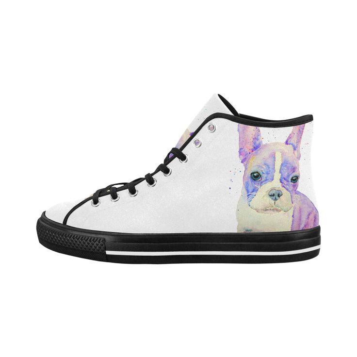 Sad face - french bulldog high top women's shoes
