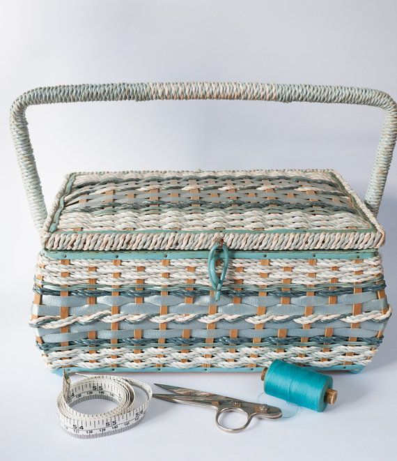 Vintage blue 1950s/1960s woven wicker/cane sewing by freshdarling