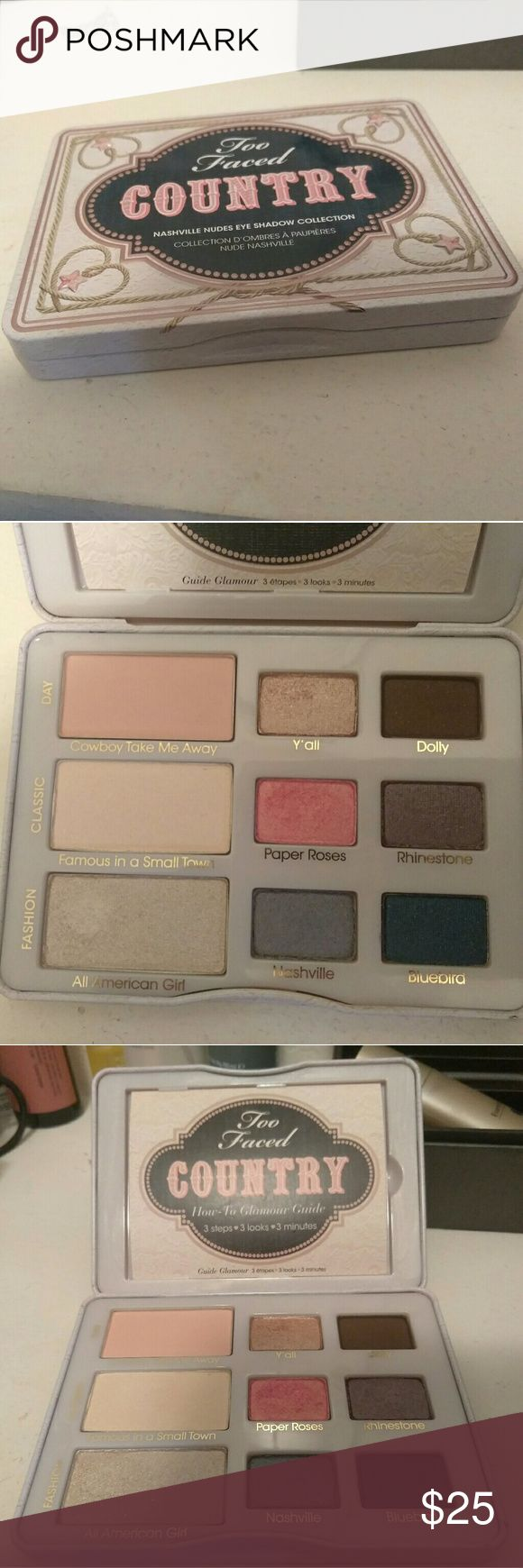 Price Drop! Too Faced Country Palette 3 colors used, others never used Basically new You cannot find this at stores anymore! Too Faced Makeup Eyeshadow