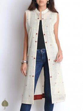 Ivory-Maroon Hand Woven Sleeveless Cotton Jacket by Jaypore