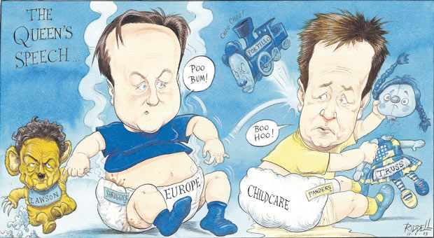 12 May 2013 - Riddell draws in a classical style with Cameron and Clegg in a tustle-throwing their toys out of the pram after it is reported MPs may unusally vote against the Queen's speech.