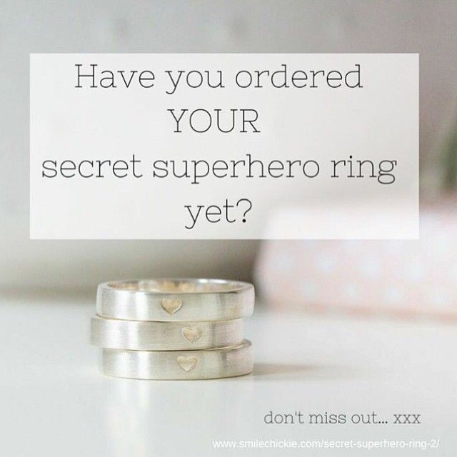 Holy moley, Christmas is getting close!  Secret Superhero rings are made in small batches by an artisan jeweller, I have limited sizes left in stock, so get in quickly while you can!  xxx (Christmas postage cut off date Friday the 18th of December. )  http://smilechickie.com/buy-a-superhero-ring/ ----------------------------------------------------------------------------- When you wear a secret superhero ring, you are celebrating your own magic - that which is uniquely yours, that no one…