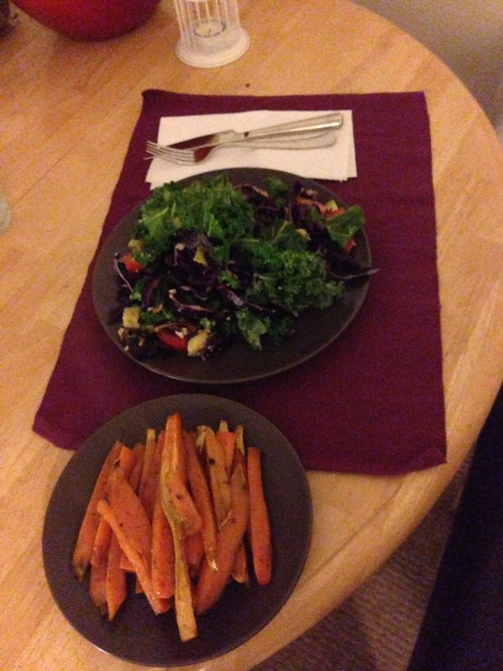 Kale Salad & Roasted Carrots and Sweet Potato (Recipe by Reboot with Joe)