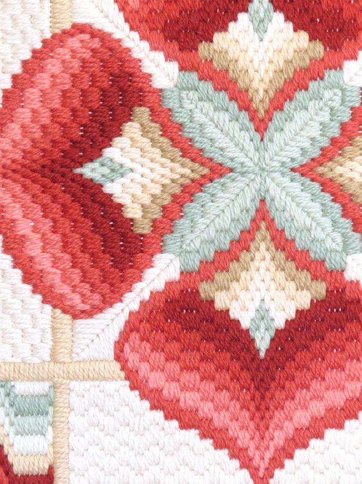 Note colors for project. Vintage Needlepoint Bargello embroidery 1970 Mounted by ByHeart