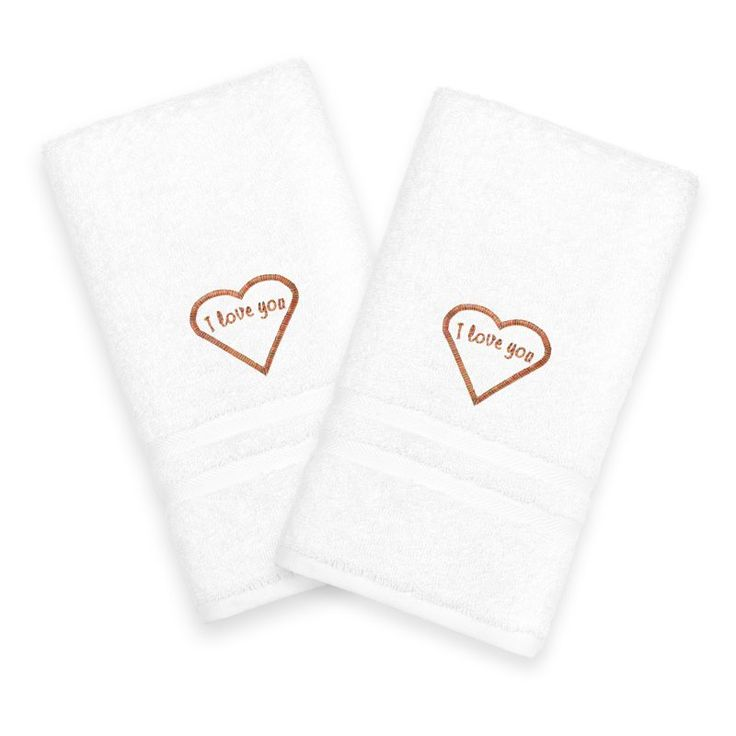 Linum Home Textiles I Love You Embroidered White Hand Towels - Melange - Set of 2 Melange - DNZ00-2HT-CLRFR