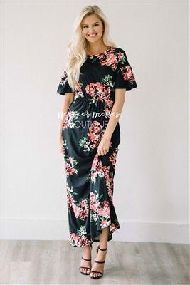 Black Mauve Ruffle Sleeve Floral Maxi Modest Dress, Church Dresses, dresses for church, modest bridesmaids dresses, best modest boutique, modest clothes, affordable modest clothes, cute modest dresses, maxi dress, floral dress, dresses with sleeves