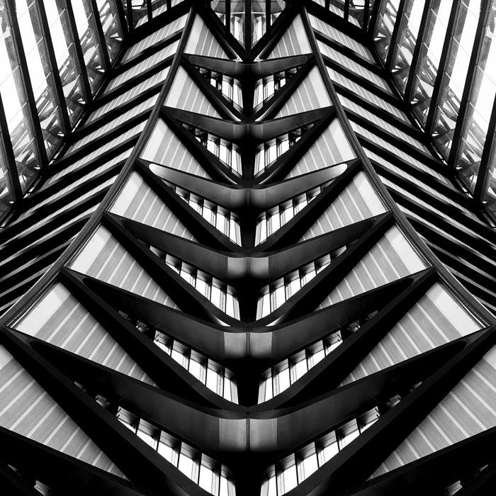 Lyon Saint-Exupery International Airport  /  Santiago Calatrava  /  Photo: © Thomas Perréon  #architecture #airport #lyon #lys #santiago #calatrava #thomas #perreon #minimalism #bw #composition #contemporary #symmetry #graphism