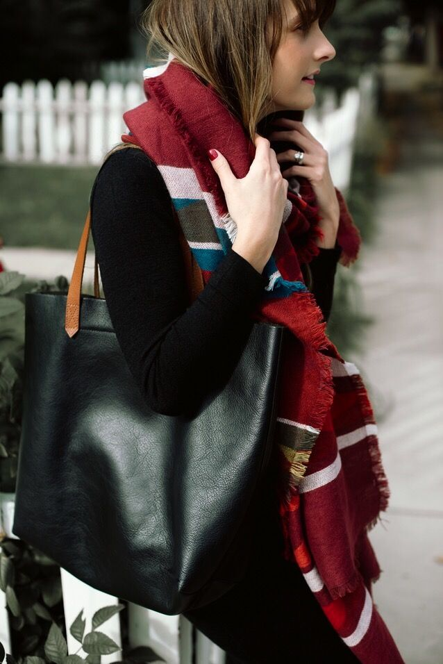 transitional fashion: blanket scarf outfit, casual style, black leather accessories | via Finding Beautiful Truth