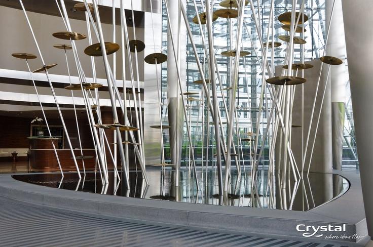The World Voices Fountain In The Residential Lobby Of The Burj Khalifa Dubai World Voices