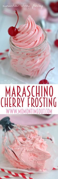 Don't let the juice from your maraschino cherry jar go to waste! Make this deliciously gorgeous Maraschino Cherry Frosting instead! Perfect on cupcakes, cookies, cake and more! // Mom On Timeout
