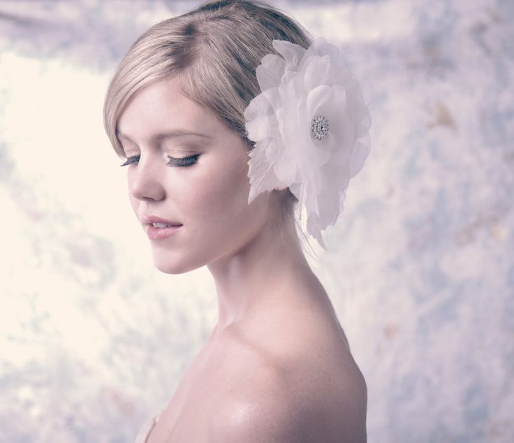 Large Organza Peony with Rhinestone Centre hair comb by Erin Fitzpatrick