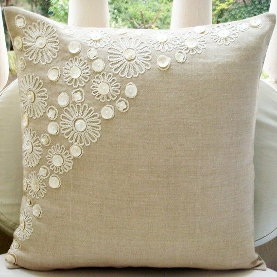 Pillow Cover (Without Filler) in cotton linen fabric with beautiful hand done cord embroidery embellished with Mother of Pearl for a classic and elegant appeal to your homes.