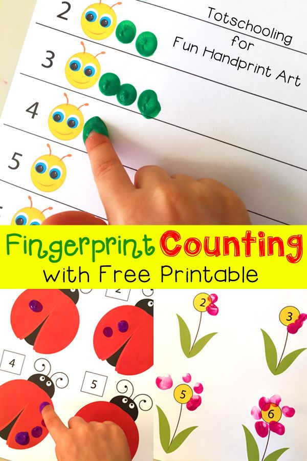 Free Printable for Spring Fingerprint Counting Activity for adorable math fun with kids