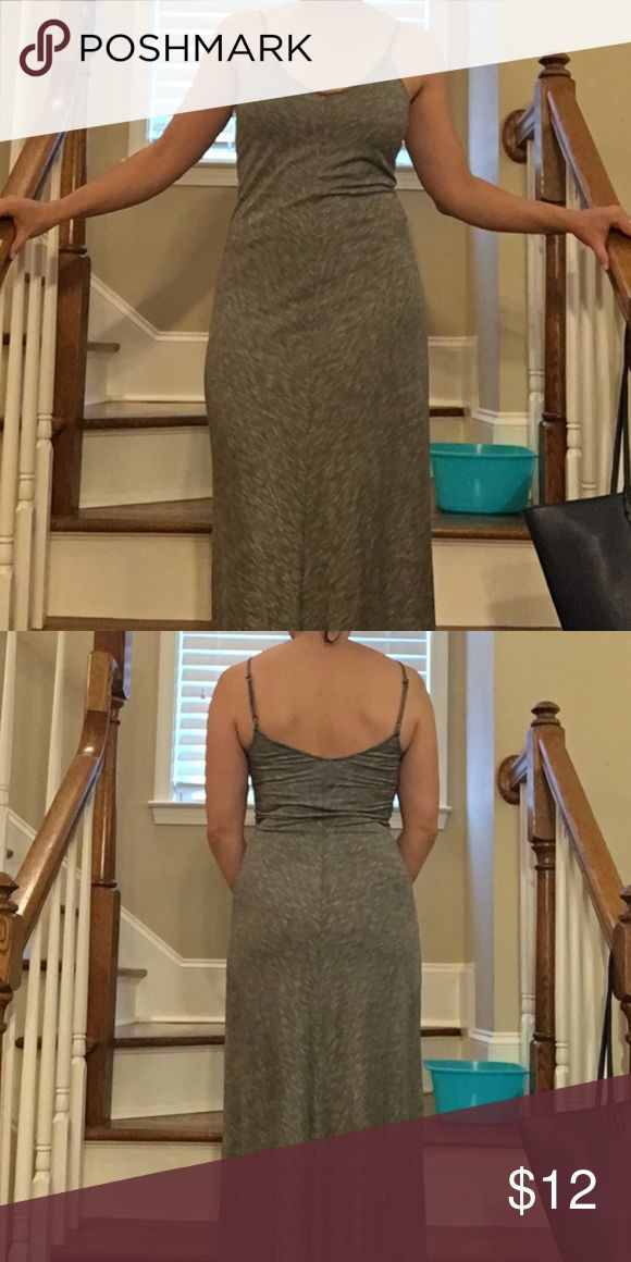 Sexy gray chevron maxi dress This dress has a chevron pattern that fans out from the center seam. It's a long tight dress, perfect for a night out! In perfect condition. Only worn twice. Xhilaration Dresses Maxi