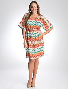 Multicolor chevron dress, nude heels and turquoise. Perfect Spring outfit! ☀