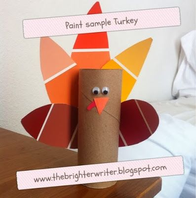 Paint Sample Thanksgiving Turkey Toddler and Kid Craft www.thebrighterwriter.blogspot.com
