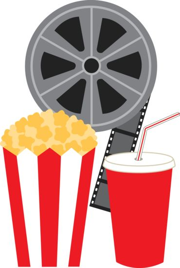 Clip art of a movie film reel with a bag of popcorn and a cup of soda pop