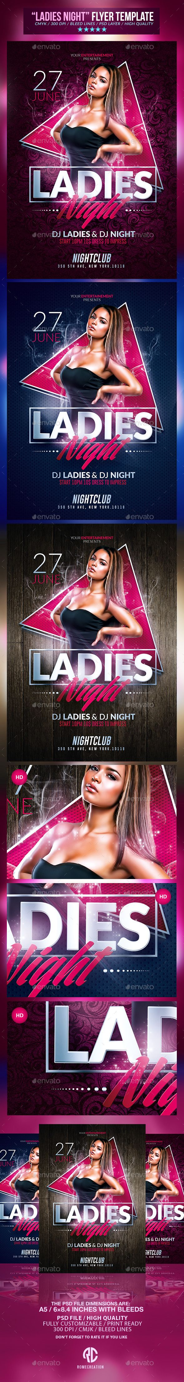 Ladies Night Party | Psd Flyer Templates #design Download: http://graphicriver.net/item/ladies-night-party-psd-flyer-templates-/11280671?ref=ksioks
