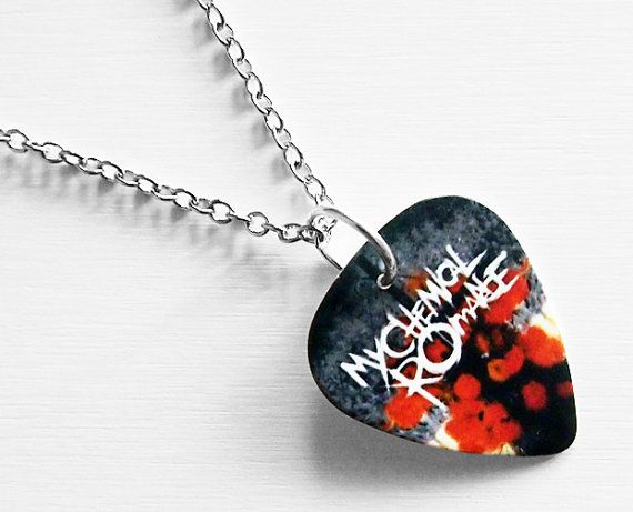 Silver necklace, 46cm long with a My Chemical Romance guitar pick. The image is from The Black Parade is Dead.    The necklace will be sent in a nice
