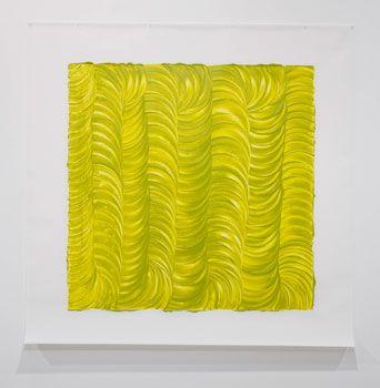 Noel Ivanoff, Levigation - green I, 2009, Raw pigment and acrylic binder on dacron  1400 x 1400 mm