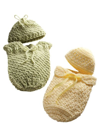 Wrap up the littlest ones you know in this cozy crochet papoose.   By popular request! Specially sized for preemie babies to cuddle and keep them warm. Each papoose works up quickly and can also be used as a bereavement outfit. Your local hospital neonatal unit may need these items -- contact your local hospital to see how you can help.