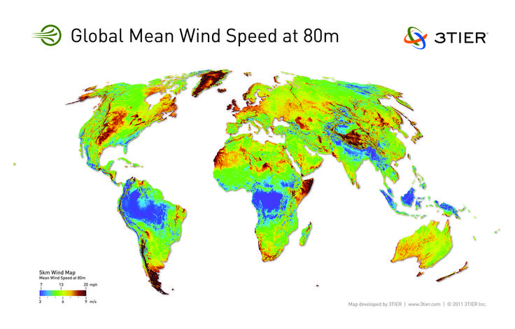 Map of global mean wind speeds by 3tier #map #wind #climate