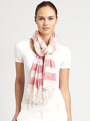 "Airy, cotton scarf is defined by lively ombre stripes and fringe trim. 27"" X 70"" Cotton Dry clean Made in Italy - Color: Pink-White"