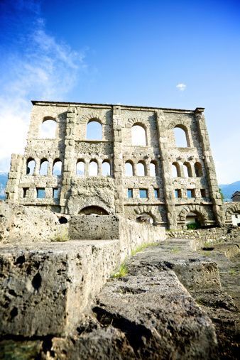 Ruin of Roman theatre in Aosta, Italy.