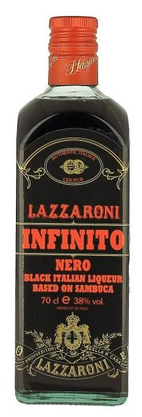 Lazzaroni Black Sambuca. Created through the infusion of green anise seed with various spices. It is purplish black in color with an aroma of anise.