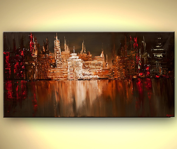"""Original modern palette knife abstract city painting Contemporary Red Olive Urban Art from OSNAT 48""""x24"""". $600.00, via Etsy."""