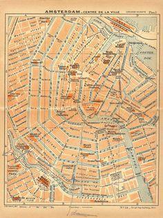 1938 Amsterdam City Centre Street Plan by CarambasVintage on Etsy, $16.00