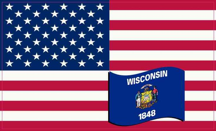 5in X 3in America and Wisconsin Flag Sticker Vinyl State Decal Stickers