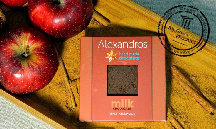 Milk chocolate with cinnamon and apple