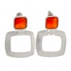 Hallmarked 925 Brushed Silver Earrings with Carnelians