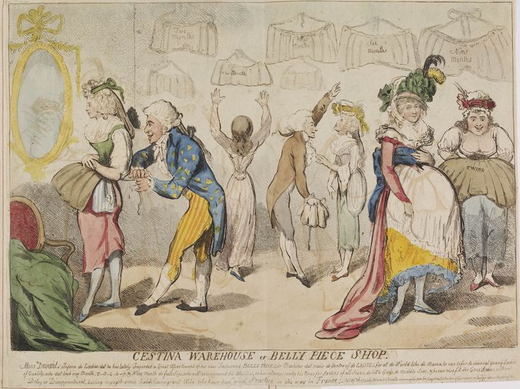 """Amelia Rauser  In the spring of 1793, a strange fad swept London: women began to wear belly pads under their dresses. Although no pads are known to survive today, a contemporary described one as """"a linen bag, about the size and shape of a small pillow case… left open at one end, which eith..."""