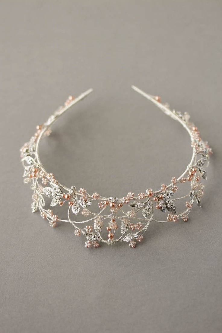 Silver and rose gold wedding crown 2