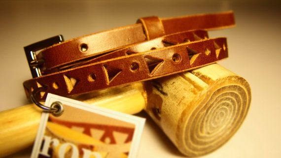 Womens Hand Crafted Geometric Tan Leather Belt