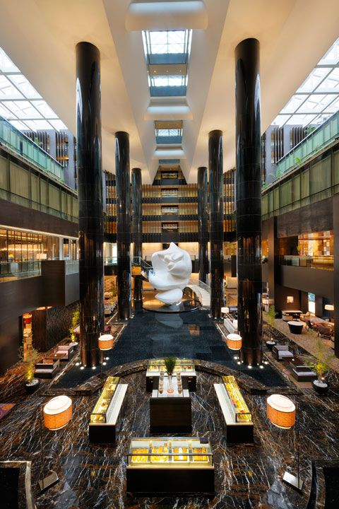 Lobby at Park Hyatt Hyderabad, designed by HBA/Hirsch Bedner Associates.