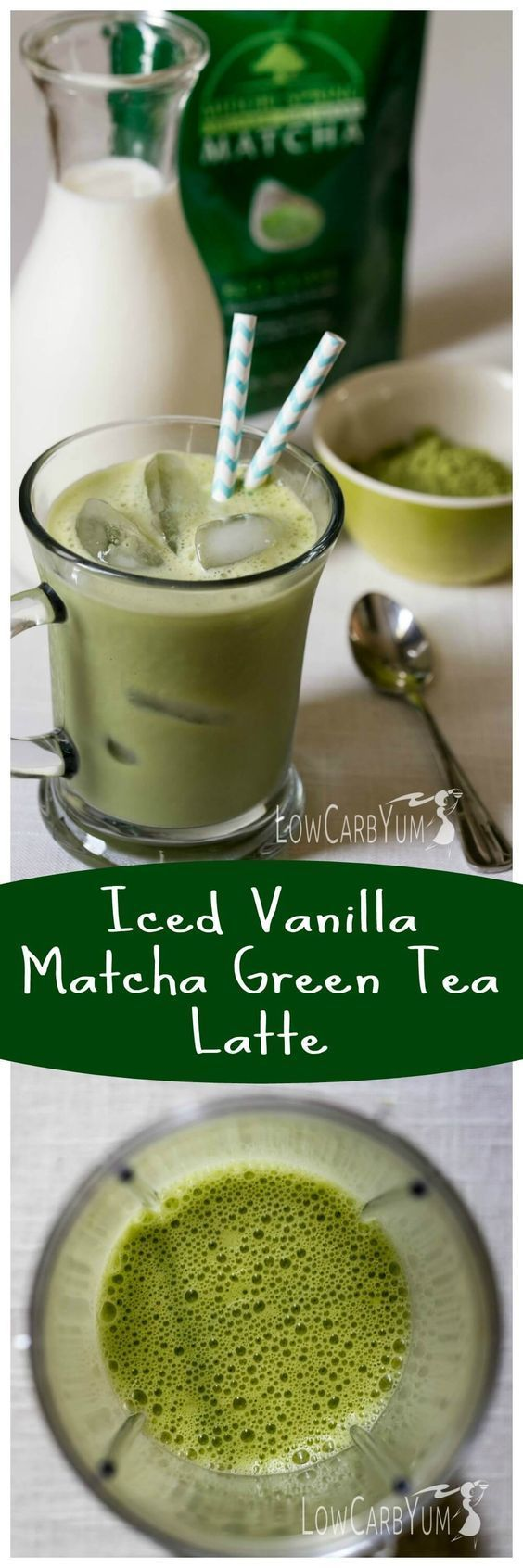 Need a healthier alternative to iced coffee? Try this low carb iced vanilla matcha green tea latte.  It's low in calories with less than 1 gram of carbs! http://LowCarbYum.com