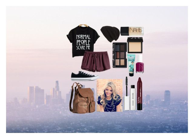 """Back2School Outfit {Monday}"" by secretkkpm on Polyvore featuring H&M, Phase 3, NARS Cosmetics, Benefit, Bobbi Brown Cosmetics, Essie and Converse"