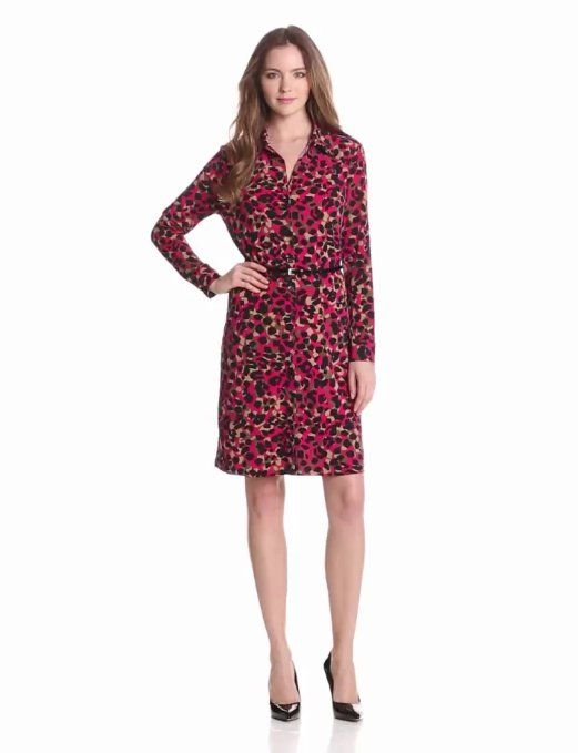 Amazon.com: Anne Klein Women's Leo Animal-Print Belted Dress: Clothing