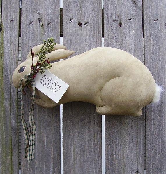 Folk Art Rabbit Doll Primitive Spring Art