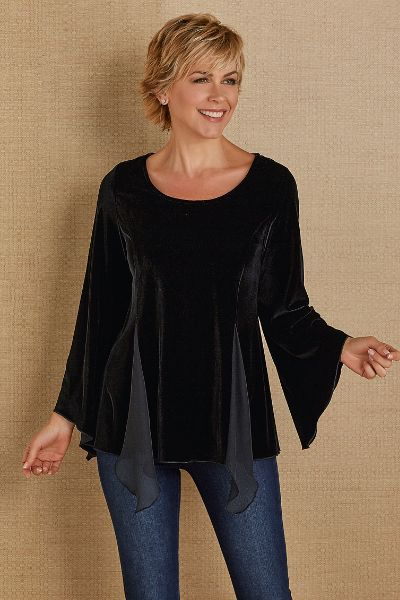 The holiday season essential, plush black velvet impresses in our fabulously chic Valentina Velvet Top, styled with floaty, texturally contrasting sheer chiffon godets. Front and back princess seams and waist shaping offer a figure-loving fit, and long angled sleeves complete the chic-ness of the design.
