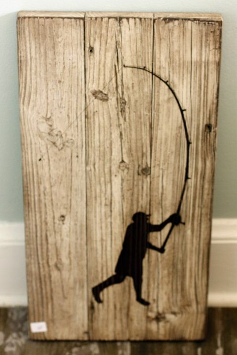 Laser cut surf fisherman on salvaged wood. Located inside Saltologie, 815  3rd St N - 8 Best Images About Reclaimed Wood Signs On Pinterest Surf